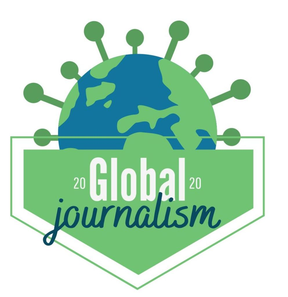 the global journalism project logo. Main colors: green and blue