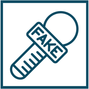 blue icon that symbolizes fake news