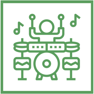 green icon that symbolizes concerts