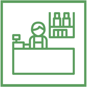 green icon that symbolizes local businesses