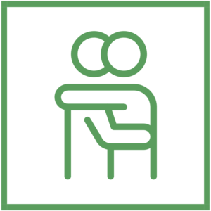 green icon that symbolizes physical contact